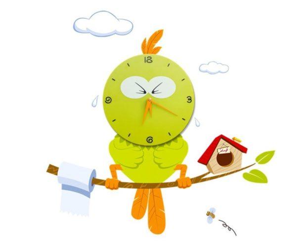 01 green bird clock