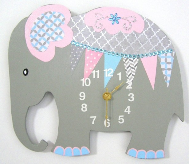 07 elephant clock nursery room