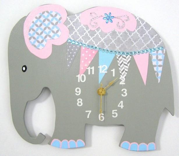 07 elephant clock nursery room