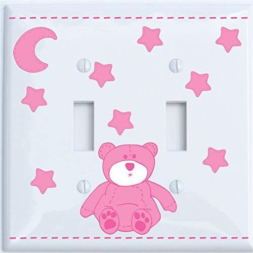Pink bear light switch cover for nursery