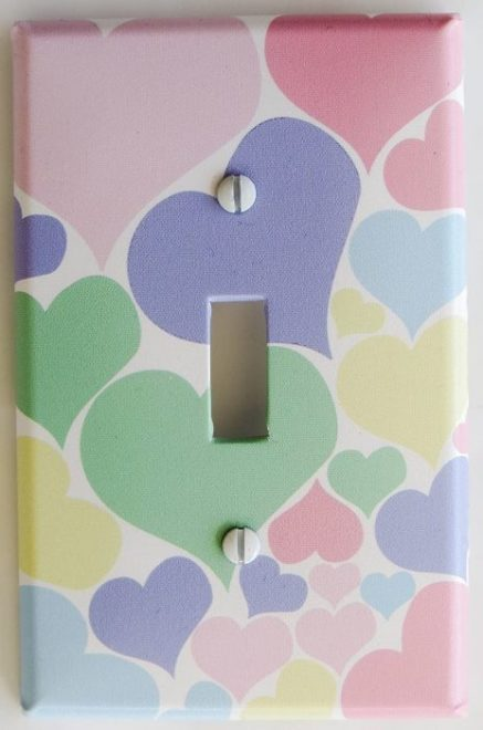 Pastel hearts light switch cover for nursery