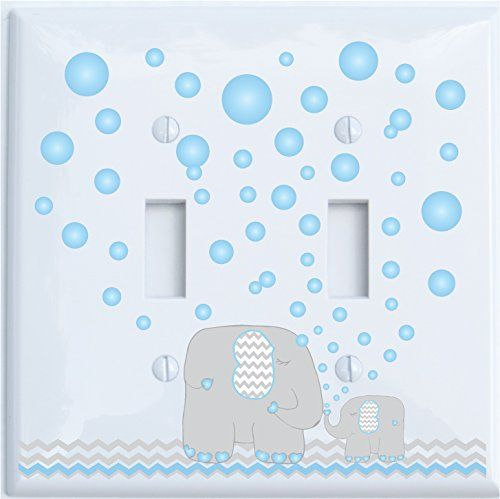 Blue elephants light switch cover for nursery