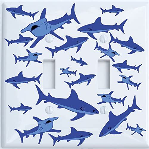 Blue Shark light switch cover for nursery