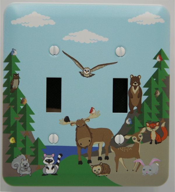 Forest animals light switch cover for nursery