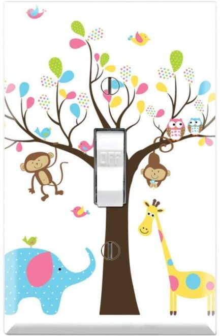 Cute animals light switch cover for nursery